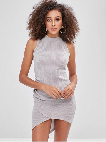 Knitted Mock Neck Sleeveless Tulip Dress