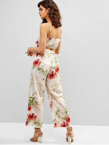 Knot Flower Cami Top and Pants Set