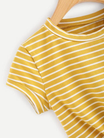 Knot Front Striped Crop Tee