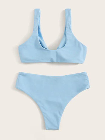 New Knot Front Top With Panty Bikini Set
