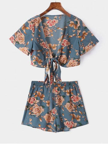 Knotted Floral Print Top And Shorts Set
