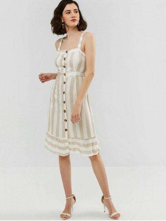 Knotted Button Up Stripes Dress