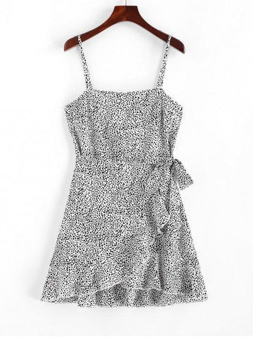 Knotted Ruffles Speckled Dots Dress White S