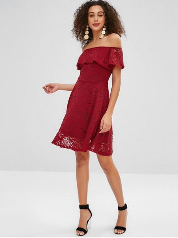 Lace Flounce Off Shoulder Dress