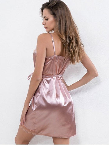 Lace Panel Satin Cami Wrap Dress