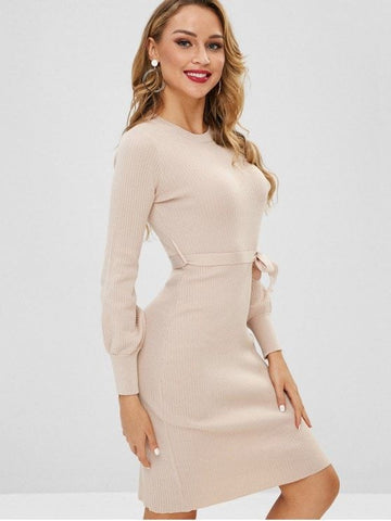 Lantern Sleeves Belted Sweater Dress