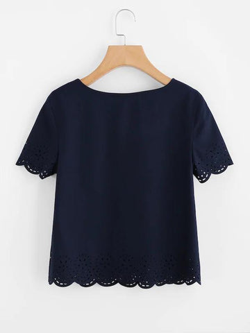 Laser Cut Scallop Hem Top