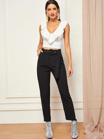 Layered Ruffle Trim Crop Top