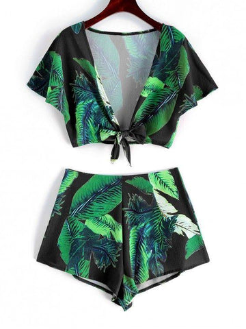 Fashion Leaf Print Crop Knot Top And Shorts Set