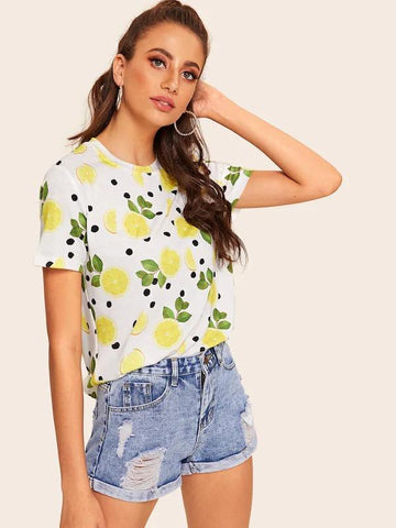 Lemon & Polka-Dot Print Tee