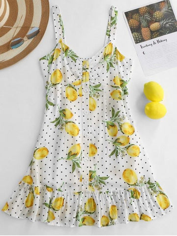 Lemon Polka Dot Ruffle Shirred Dress