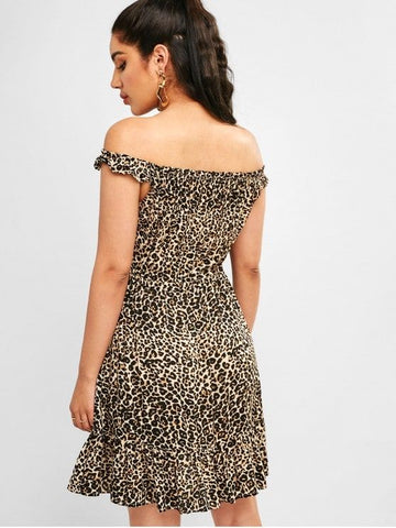 Leopard Drawstring Mini Flounce Dress