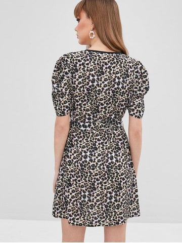 Leopard Mini Wrap Dress