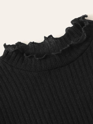 Lettuce Trim Crop Rib-Knit Tee