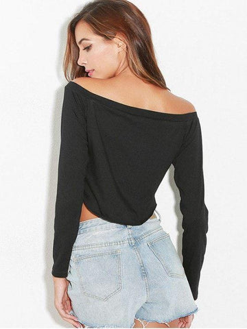 Long Sleeves Off Shoulder Crop Tee