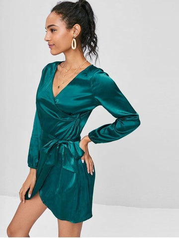 Long Sleeve Wrap Mini Satin Dress