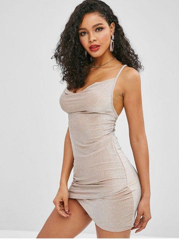 Metallic Thread Criss Cross Club Dress