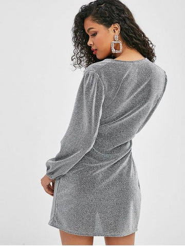 Metallic Thread Long Sleeve Wrap Dress