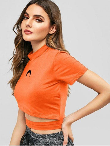 Fashion Mock Neck Graphic Cut Out Crop Top