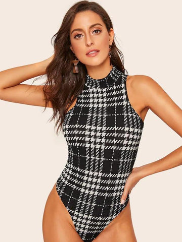 Mock-Neck Houndstooth Skinny Bodysuit