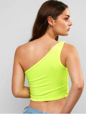 Cotton Neon Cropped One Shoulder Tank Top