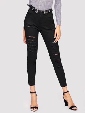 New Fashion Ripped High Waist Skinny Jeans