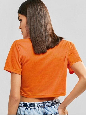 Cute No Thanks Graphic Cropped Tee