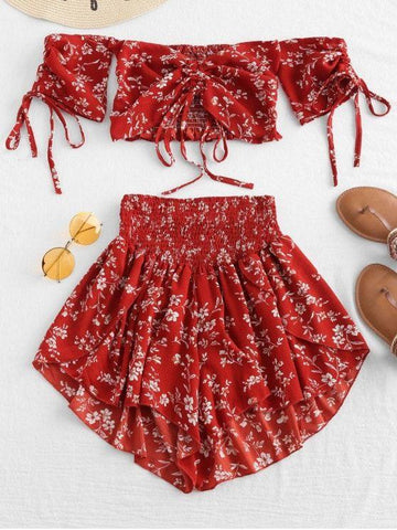 Off Shoulder Cinched Floral Set