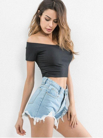 Off Shoulder Fitted Crop Tee