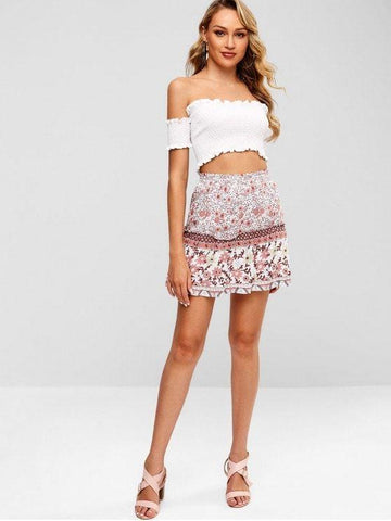 Off Shoulder Smocked Crop Blouse