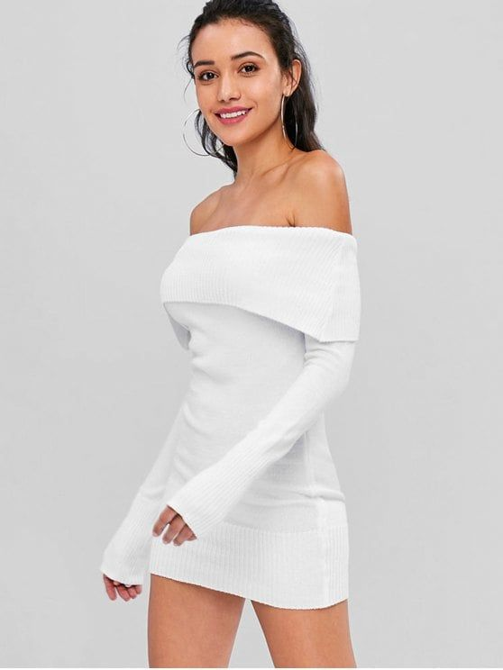 Off The Shoulder Overlay Sweater Dress
