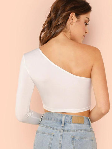 One Shoulder Crop Tee