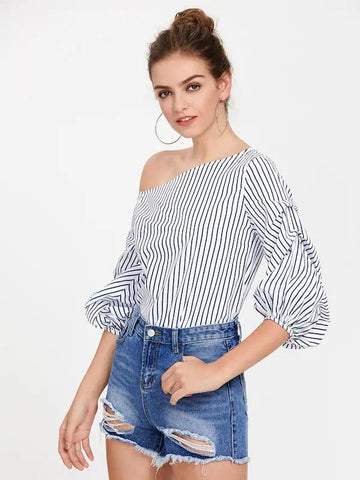 One Shoulder Gathered Lantern Sleeve Striped Top