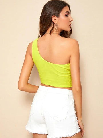 One Shoulder Solid Crop Top