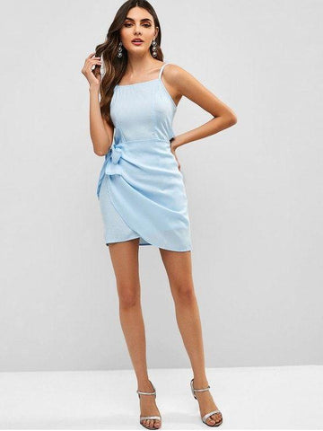 Overlap Knotted Cami Dress