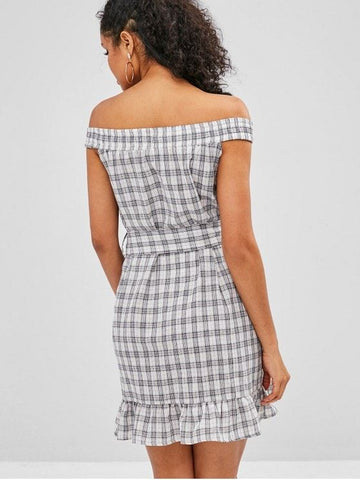 Plaid Ruffles Off Shoulder Dress