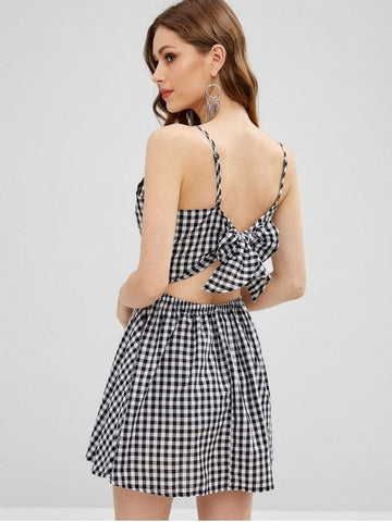 Plaid Twist Knotted Cami Dress
