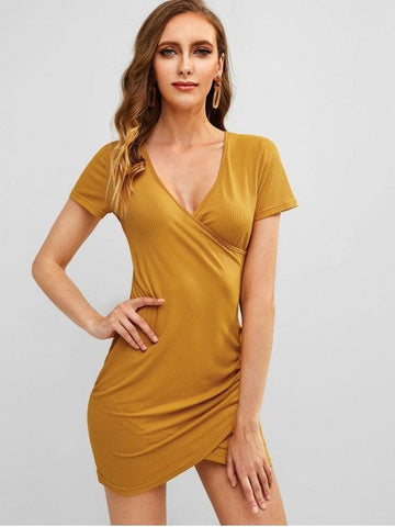 Plunge Surplice Ruched Short Dress