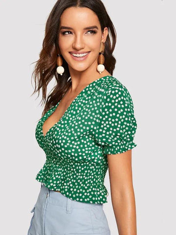 Plunging Neck Shirred Floral Crop Top