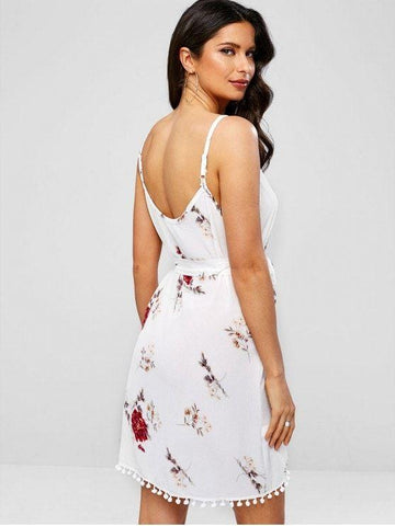 Pompoms Hem Floral Print Belted Cami Dress  White M