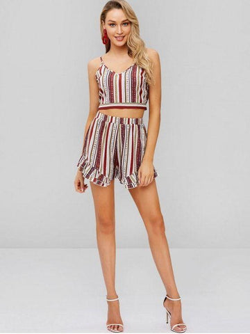 Printed Ruffle Two Piece Set