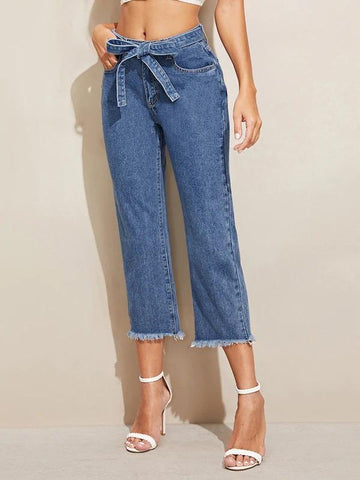 Raw Hem 5-Pocket Belted Crop Jeans