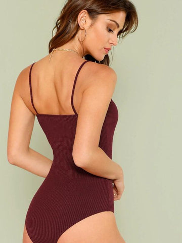 Ribbed Knit Cami Bodysuit