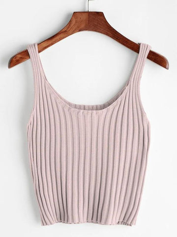 Ribbed Knit Crop Tank Top