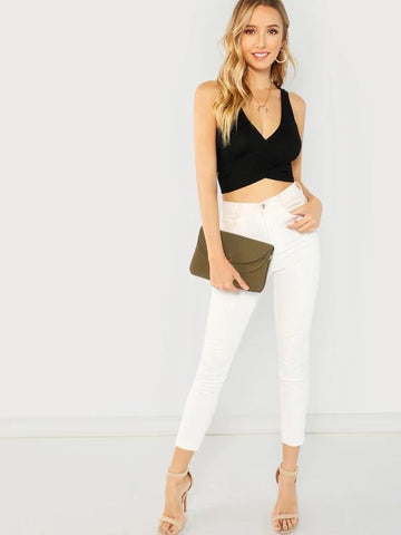 Ribbed Knit Tie Crop Top