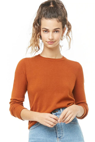 Ribbed-Trim Knit Sweater