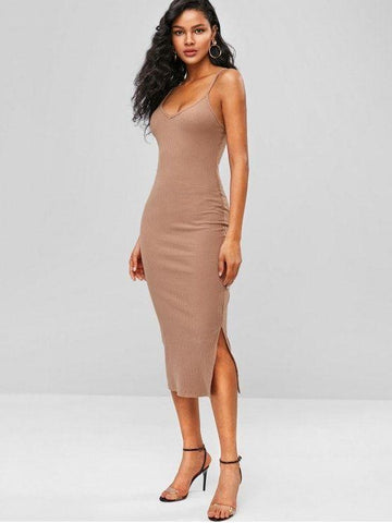 Ribbed Midi Slip Dress - Tan