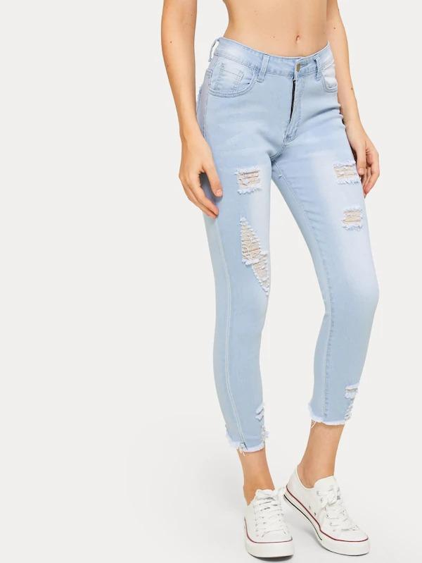 Ripped Button And Pocket Detail Jeans