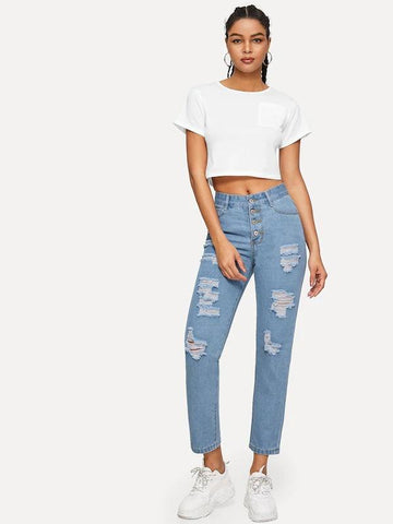 Ripped Button Fly Jeans