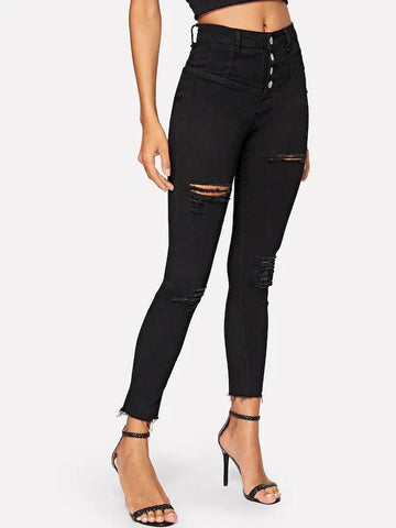 Ripped Button Front Raw Hem Skinny Jeans